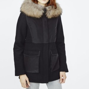 GLOBE Dual fabric parka with fur hood - Coats & Jackets - Maje.com