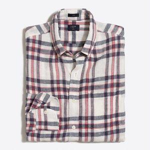 Slim linen shirt in multicolor gingham : Shirts | J.Crew Factory