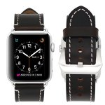 Hailan Band for Apple Watch Band Series 1 Series 2 Series 3,Retro Genuine Leather Wrist Strap Replacment Band with Large Classic Stainless Steel Buckle Clasp for iwatch,42mm,Coffee