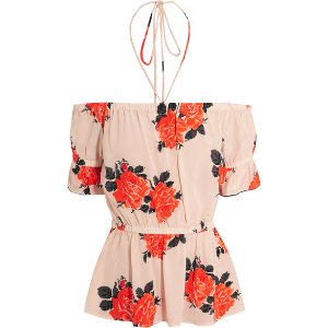GANNI   Off-the-shoulder floral-print silk crepe de chine top
