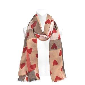 Heart Overprinted Sheer scarf