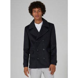 Navy Pea Coat Containing Wool - Coats & Jackets - Clothing