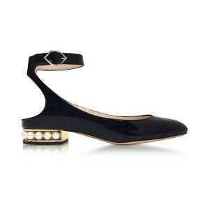 Nicholas Kirkwood Lola Black Patent Leather Pearl Ballerina