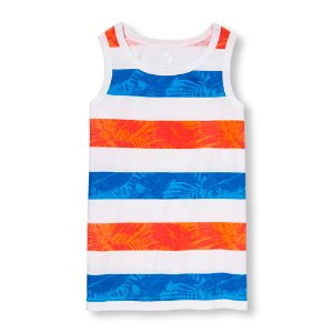 Boys PLACE Sport Sleeveless Printed Striped Tank Top   The Children's Place