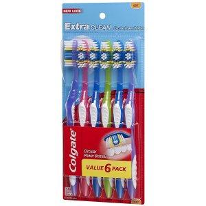 只需$3.76,平均每支只要$0.62Colgate 高露洁 Extra Clean 牙刷6支装
