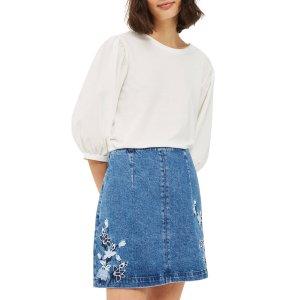 Topshop Embroidered Denim A-Line Skirt