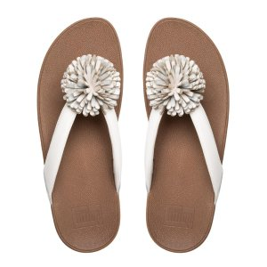FitfFlop Flowerball Leather Toe Thong Sandals Urban White Official FitFlop Store