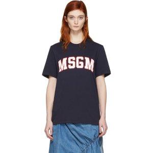 MSGM: Navy College Logo T-Shirt