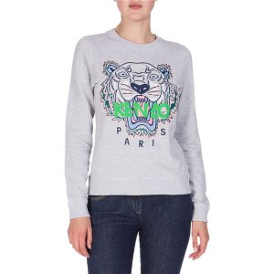 Kenzo Embroidered Logo Crewneck Sweatshirt, Light Gray