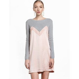Pink Satin Knit Dress