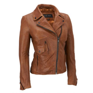 Black Rivet Asymmetrical Leather Moto Jacket w/ Shirt Collar - Short - Women's & Plus Size - Wilsons Leather
