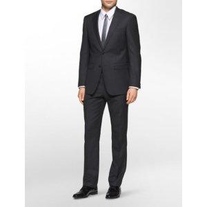 x-fit ultra slim fit charcoal sharkskin suit | Calvin Klein