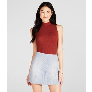 Railroad Stripe A-Line Denim Skirt