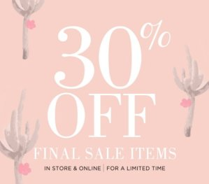 30% OffFinal Sale Items @ South Moon Under