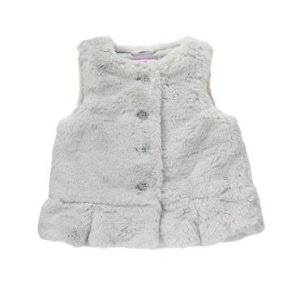 Toddler Girls Soft Grey Faux-Fur Peplum Vest by Gymboree