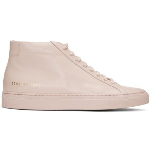 Woman by Common Projects: Pink Original Achilles Mid Sneakers | SSENSE