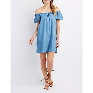 Chambray Off-The-Shoulder Shift Dress | Charlotte Russe
