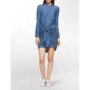 bella mid-blue belted shirtdress | Calvin Klein