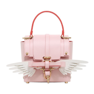 NIELS PEERAER - SMALL WINGS 3PM LEATHER BAG - TOP HANDLES - PINK/WHITE
