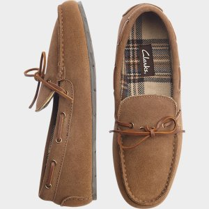 Clarks Light Brown Suede Moccasin Slippers - Men's Slippers | Men's Wearhouse