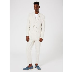Oatmeal Marl Double Breasted Skinny Fit Suit