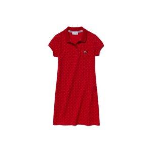 Kids' Polka Dot Fine Piqué Polo Dress | LACOSTE