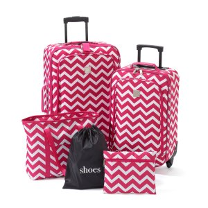 TravelQuarters Pink Chevron 5-pc. Luggage Set