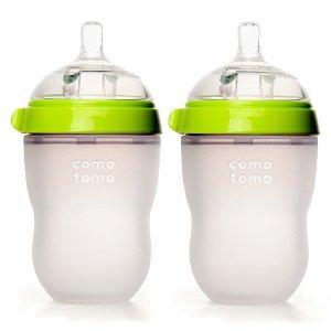 Comotomo Baby Bottles Twin Set 8 oz. Green -- 2 Bottles