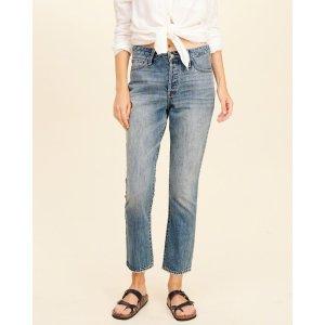 Hollister 复古高腰直筒裤