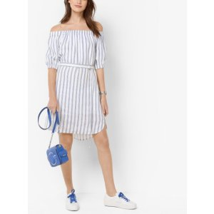 Striped Linen Off-the-shoulder Dress | Michael Kors