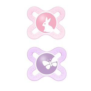 MAM Newborn Start Orthodontic Pacifier, Girl, 0+ Months, 2-Count : Baby Pacifiers : Baby