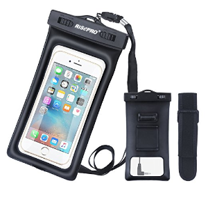 $2Waterproof Case, RISEPRO Floatable Underwater Pouch Dry Bag With Armband & Audio Jack for iPhone 6, 6 plus, 6s, 6s plus, 5, 5s, Samsung Galaxy s6 HTC Screen Touchable IPX8 100FT FB1710-BK