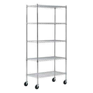 Sandusky 72 in. H x 36 in. W x 18 in. D 5 Shelf Chrome Wire Mobile Commercial Shelving Unit-MWS361872 - The Home Depot