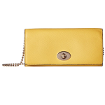 COACH Womens Crossgrain Leather Slim Chain Envelope