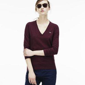 $29.99($60)Lacoste Women's Cotton Jersey V-Neck T-Shirt