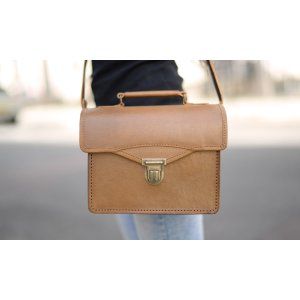 Small Tan Leather Satchel/Camera-Bag by Beara Beara
