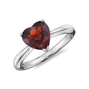 Heart Garnet Ring in Sterling Silver (8mm) | Blue Nile