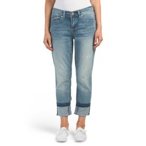 Girlfriend Jeans With Released Cuffs