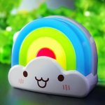OxyLED OxySense BN01 LED Baby Kids Night Light, Rainbow Toddler Nightlight With Voice Light Sensor - Plug In Wall Light Lamp