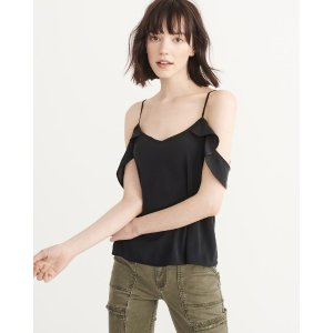 Womens Woven Cold-Shoulder Top | Womens Summer Sale Styles | Abercrombie.com