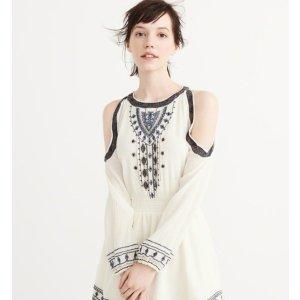 EMBROIDERED COLD-SHOULDER DRESS