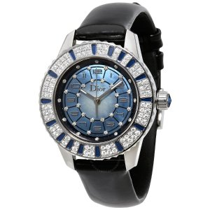 $2995DIOR Christal Blue Mother of Pearl Dial Diamond and Sapphire Ladies Watch Item No. 113510A002