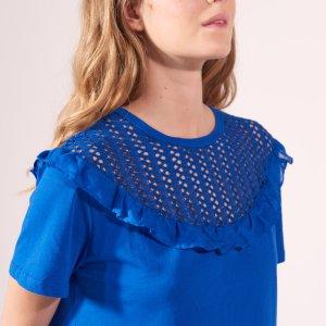 100% Cotton Lace And Frill T-Shirt - Tops & Shirts - Sandro-paris.com