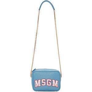 MSGM: Blue Logo Shoulder Bag