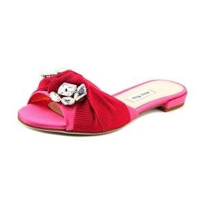 Miu Miu Miu Miu Raso 3 Open Toe Canvas Slides Sandal | Bluefly.Com