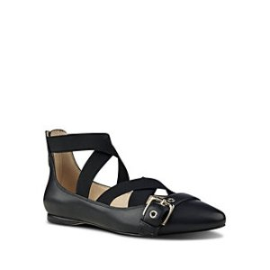 Leather-Blend Strappy Flats