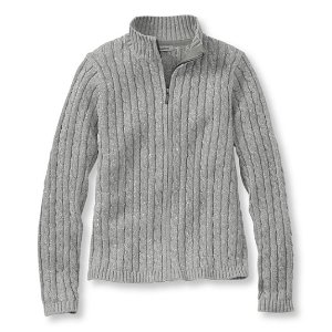 Double L Cotton Sweater, Zip-Front Cable Cardigan Marled | Free Shipping at L.L.Bean.