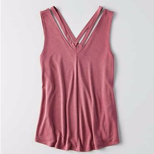 AEO Strappy V-Neck Tank , Burgundy | American Eagle Outfitters