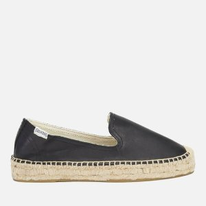 Soludos Women's Leather Platform Espadrille Smoking Slippers - Black - FREE UK Delivery