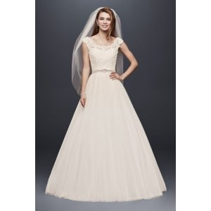 Tulle Wedding Dress with Lace Illusion Neckline - Davids Bridal